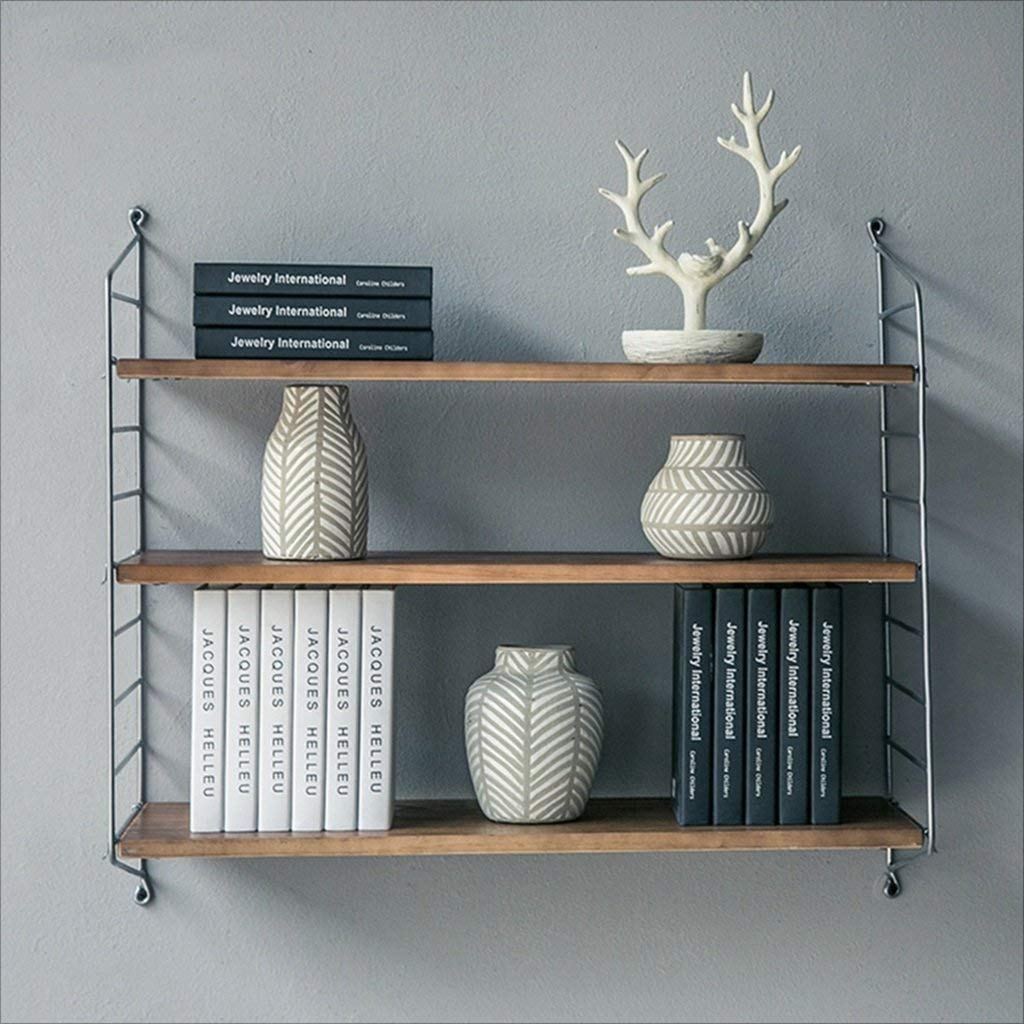 Bookshelf Wall Wrought Iron Wood Retro Bookcase Wall Waffle Wall dividers Wood Adjustable Height Wall Wall Mount Display Decoration Wall Units Bookcases (Size : 100 x 26 x 75cm)