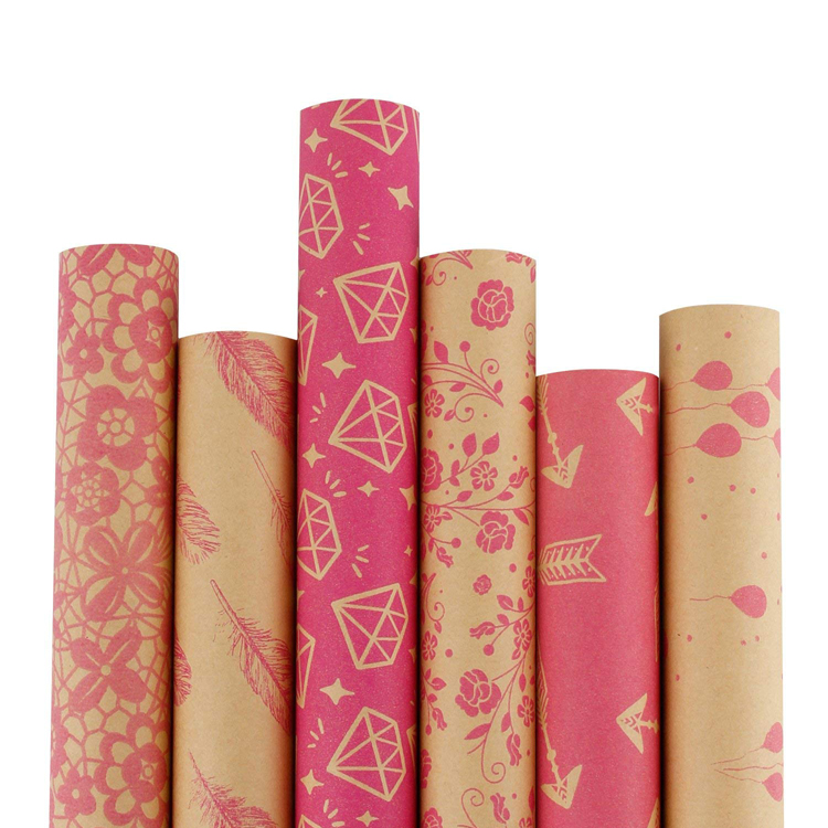 Großhandel Hot Pink Patterns Brown Starkes Kraftpapier Geschenkpapier