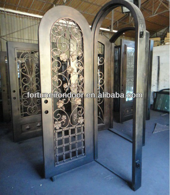 Interior exterior arch full arch top single wrought iron door factory