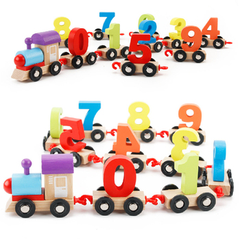 Kids wooden toy mini wood train with 0~9 numbers on the train finny train toy