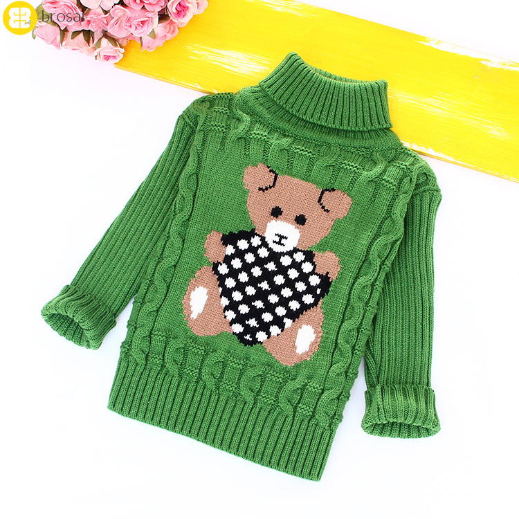 Fashionable Style Outerwear Pullovers Children's Sweater Spring Autumn Girls Cardigan Kids Girl's Turtle Neck Sweaters