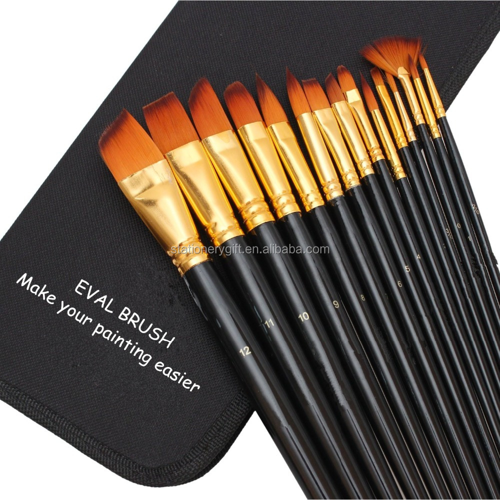 Pintura a óleo e acrílico Art Paint Brush Set para Aquarela, Acrílicos, Oil & Face Painting 15 Pincéis com Carry Case / Pop Up Stand