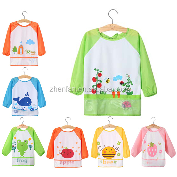 Waterproof Overclothes Long Sleeve Self Feeding Bib For Baby Apron ...