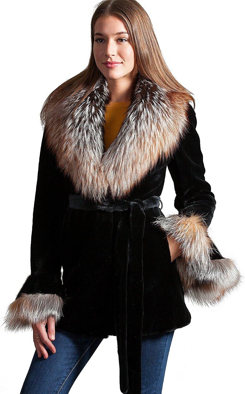 a0f67ec332c Get Quotations · Elizabeth Danish Mink Fur Jacket with Fox Fur Collar