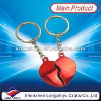 Customized heart shape blank metal keychains for lovers souvenir gifts