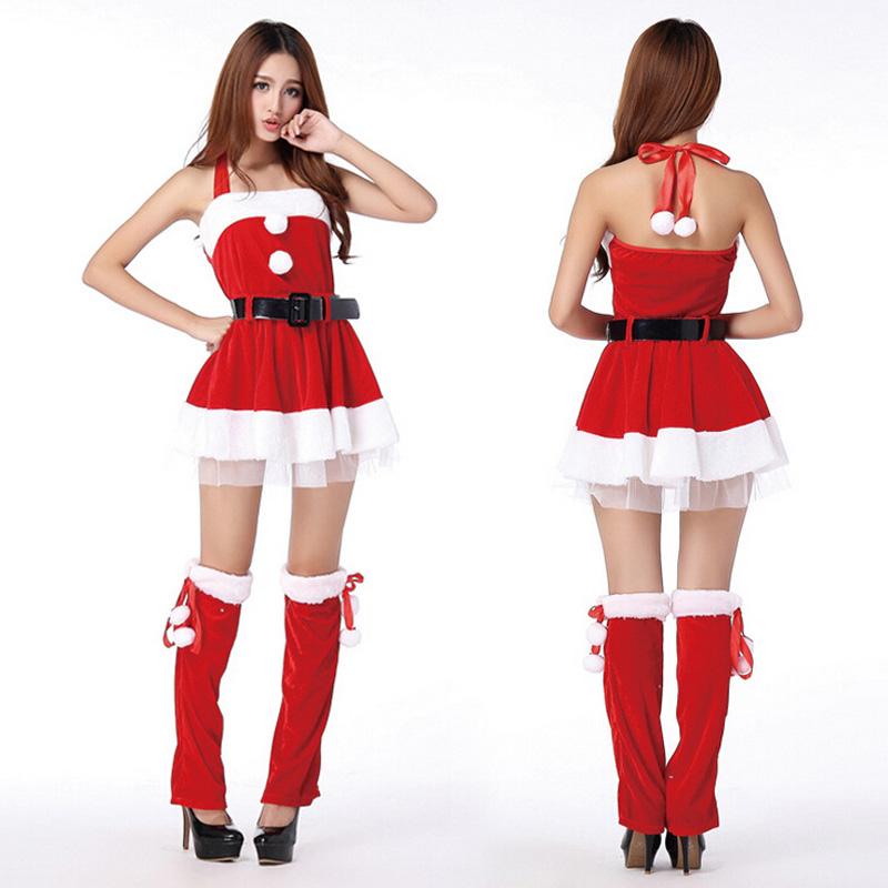 05d691dbba7 Get Quotations · navidad natal santa claus women halterneck dress christmas  cosplay costumes costume party Xmas adult suits dress