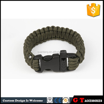 Braided rope bracelet with whistle plastic clasp, army green sports cord survival bangle for wholesale