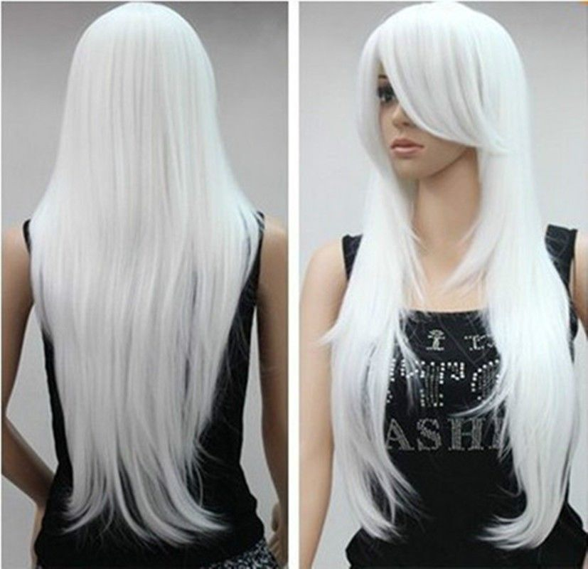long white lady's hair Wig-in Synthetic Wigs from Health ...