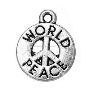 Wholesale DIY Zinc Alloy Antique Silver Engraved World Peace Sign Charms