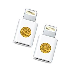 2 Pack of Micro USB to Lightning Adapter Converter Sync & Charge 8-Pin Connector for iPhone 6, 6S, 6S Plus, iPad Air, iPad Mini - White