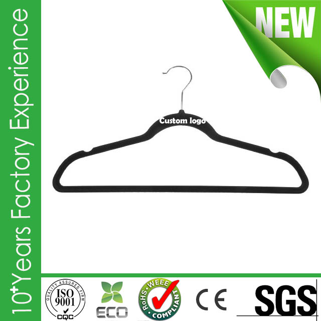 CR-IT996_velvet Plastic grey color velvet plastic hanger made in China