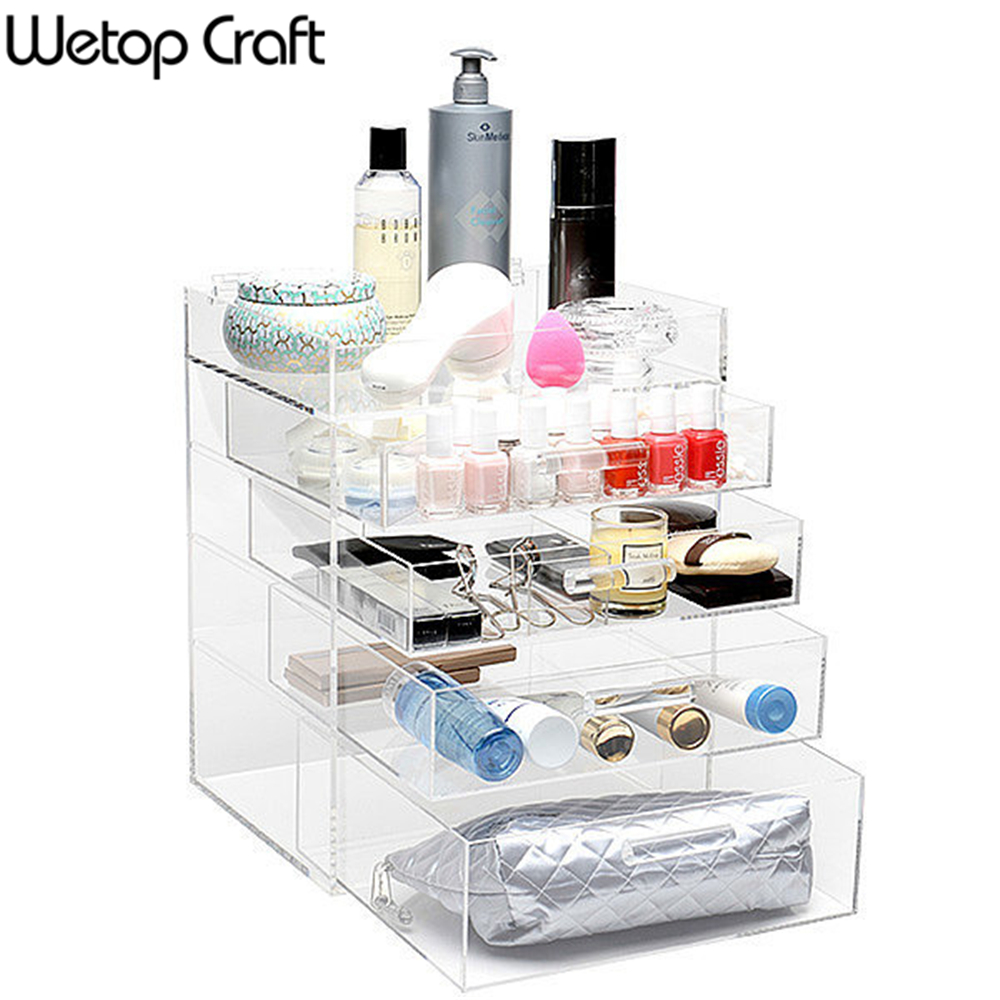 6 drawer big box transparent acrylic makeup organizer cosmetic Storage Display Boxes Two Pieces Set