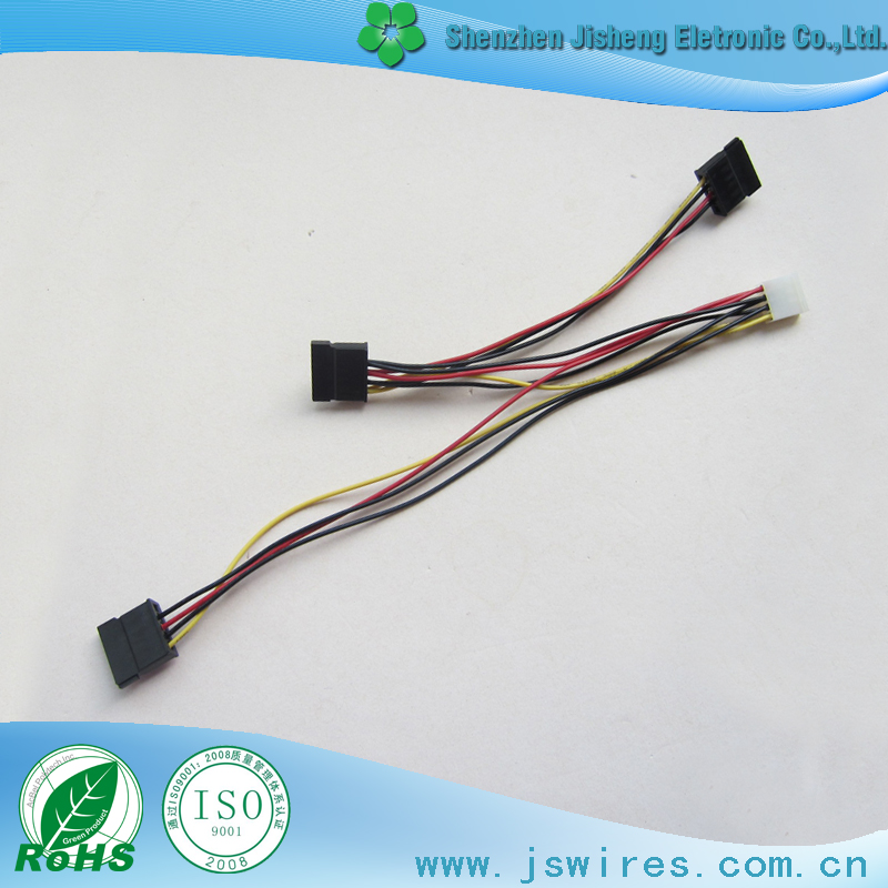 IDE/Molex 4 Pin to 3x SATA 15 Pin power cable wires harness