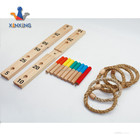 wooden ring toss game with nine column ,nature wooden color