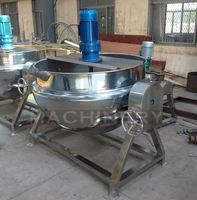 Ace Vertical Gas/Electric Heating Jacketed Kettle/Industrial Cooking Pot With Mixer For Food Processing