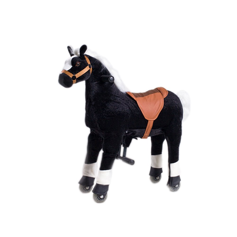 Mofawangzi Saddle-less Rocking Ride on Pony Toys Walking Horse Cycle Toy Giddy up Ride on with Wheels and Foot Rest without Battery or Electricity Mechanical, Black Medium for 3-8 Age Children