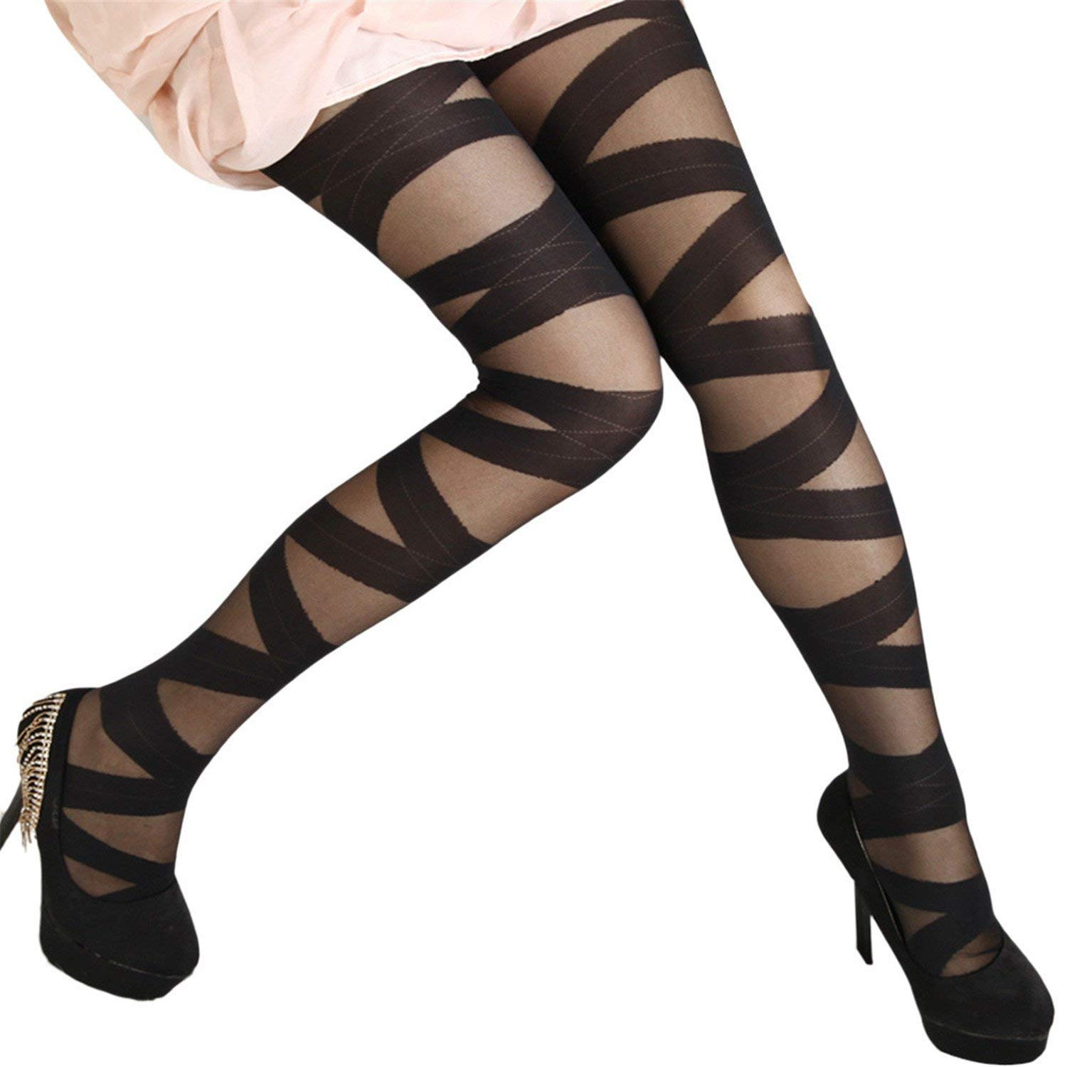 3c6d6015f58 Get Quotations · Solme Womens Bandage Opaque Over Knee Thigh High Elastic  Stockings Sheer Silk Over Knee Thigh High