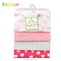 Wholesale fashion baby blankets custom logo coloful printed soft cotton flannel baby receiving blankets