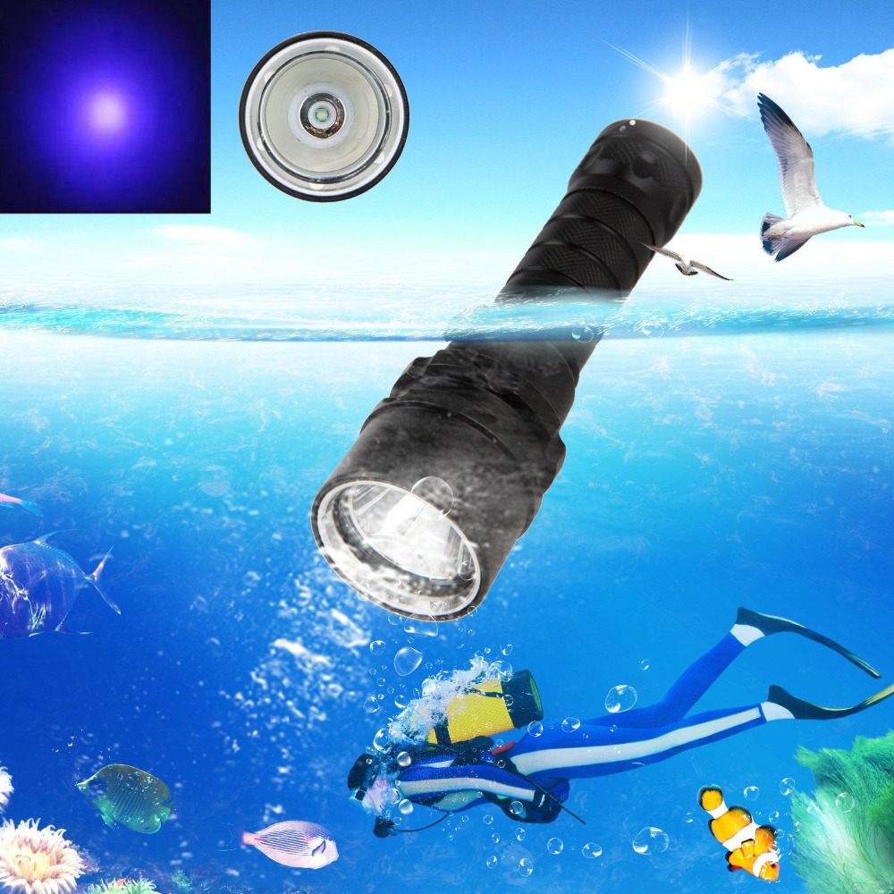COURUI XPE UV Light LED Scuba Diving Flashlight UNderwater 100m Torch Lamp