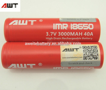 Awt 18650 40a Lithium Ion Battery 3000mah 3 7v For Glass Meth Smoking Pipe  Free Vape Pen Starter Kit Triton Dual Box Mod Vapes - Buy Glass Meth