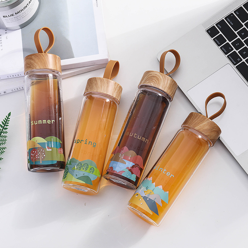 Zogift koreaanse hoge borosilicaatglas houten graan waterfles draagbare outdoor cartoon leuke travel office thee sap fles