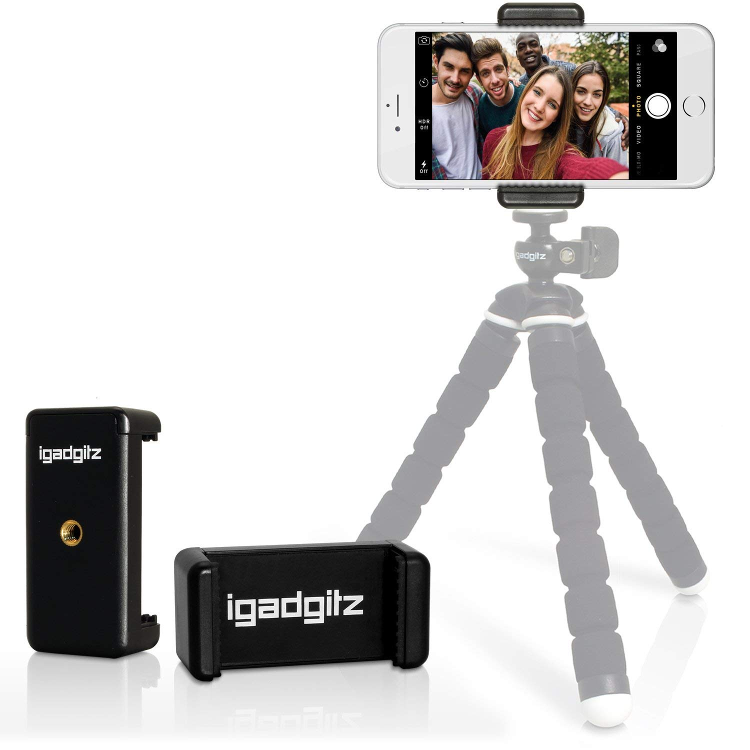 "iGadgitz Tripod and Selfie Stick Smartphone Holder Mount Bracket Adapter for Apple iPhone X 8 4.7"" 8 Plus 5.5"" 7 4.7"" 7 Plus 5.5"" 6 4.7"" 6 Plus 5.5"" 6S 4.7"" 6S Plus 5.5"" SE 5 5S 4HD 4S"