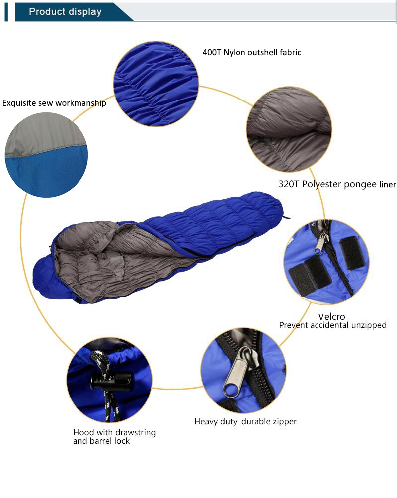 High quality filled white duck down sleeping bag