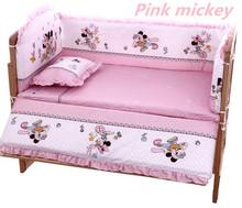 Discount 5PCS Mickey Mouse Crib Baby Bedding Set Baby Nursery Cot Ropa de Cama Crib Bumper