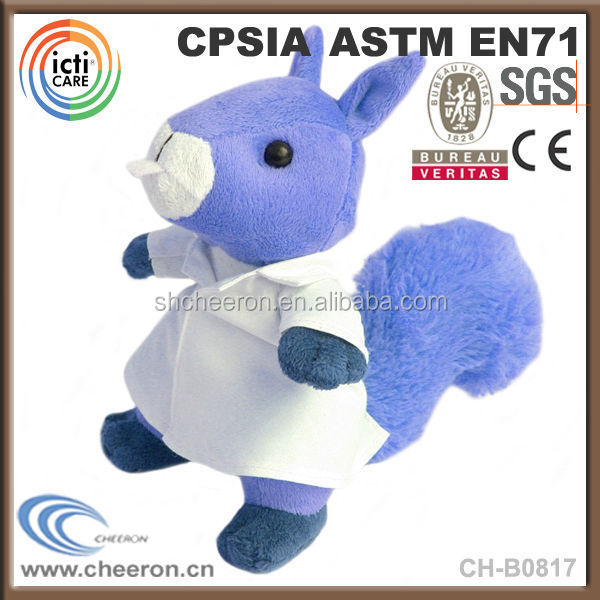 Custom cartoon toys long tail plush squirrel