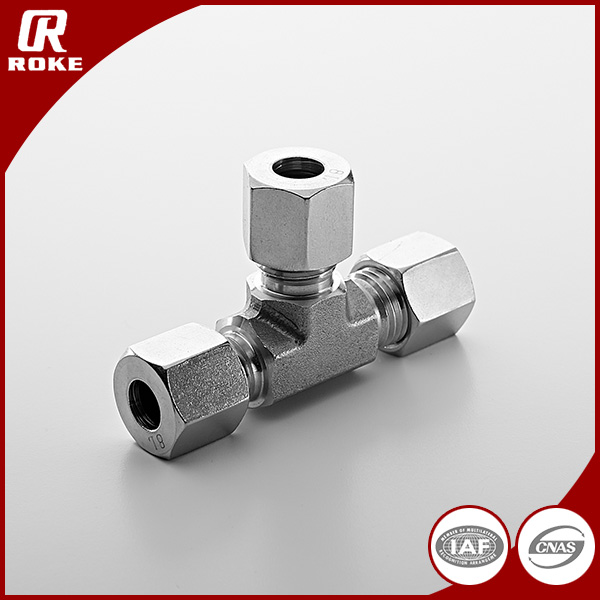 Stainless Steel 3 Way Tube Fittinge Hydraulic Ferrule Union press fitting Equal tee