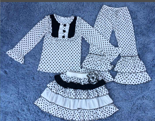 2015 girls clothing sets crochet baby set children tunic sets polka dot kids ruffle outfit 3pcs long sleeve top and ruffle pants