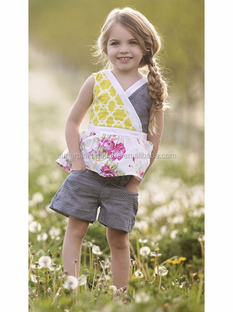 Vintage toddler clothes girl knit cotton outfits polka dot shorts childrens summer suits