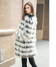Women Long Hair Faux 's imitation fur coat of the new winter long - sleeved long coat