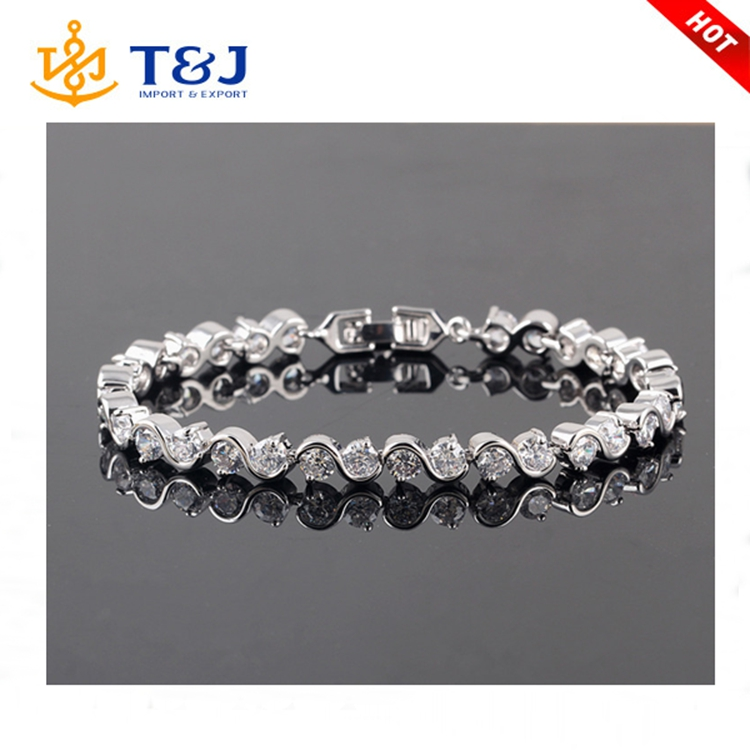 Hot style copper inlaid zircon plating rhodium high quality wave shape charm women bracelet