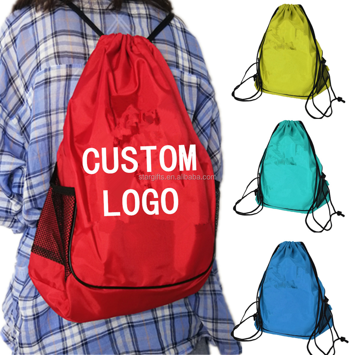 Extra Multicolour Well-priced Gym Travel Shopping Lightweight Backpack Drawstring Bag For Adults Children