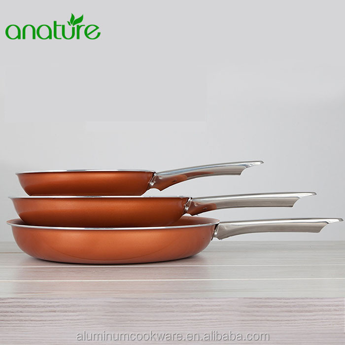 HQ-1615 Discovery Aluminum Non-stick Ceramic Titanium Copper Coating Fry Pan with Factory Wholesale Price