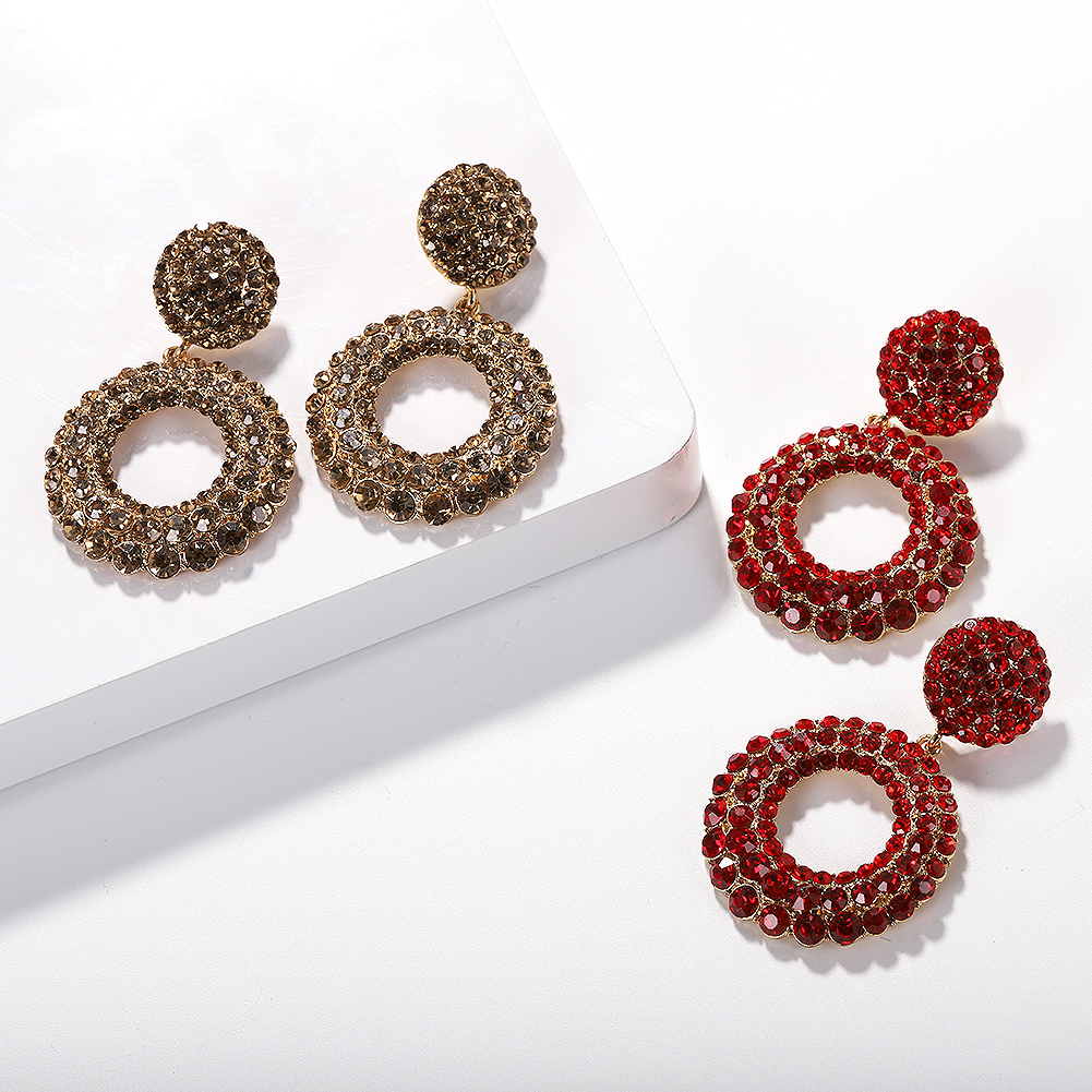 Barlaycs Fashion Statement Vintage Korean Bridal Gold Pleated Bling Crystal Rhinestone Hoop Channel Earrings for Women