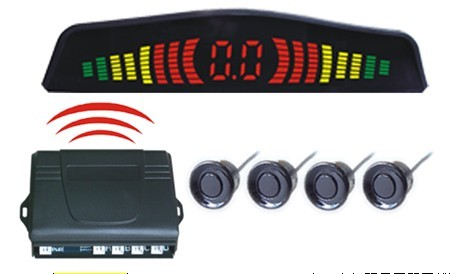 Car Rearview Parking Sensor Kit Solar Energy LED Display + 4 Back Up Sensor