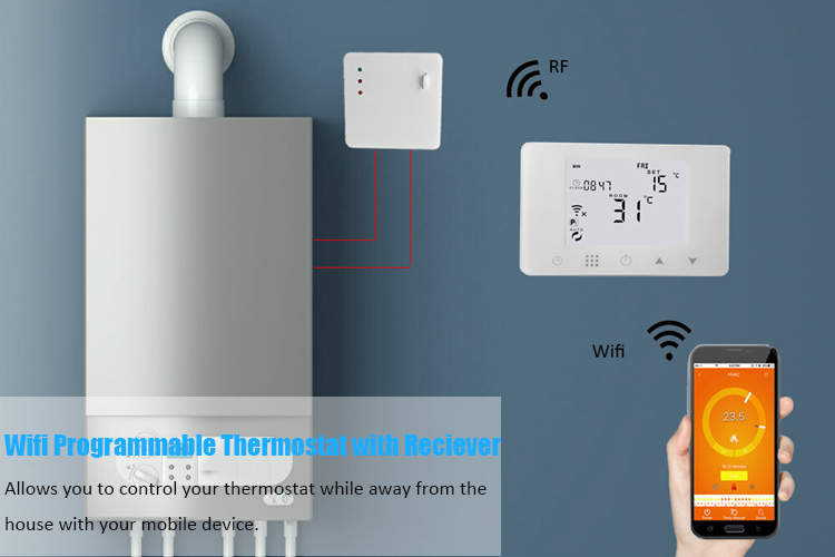 Large LCD Screen Programmable Wireless Digital Room WiFi Thermostat