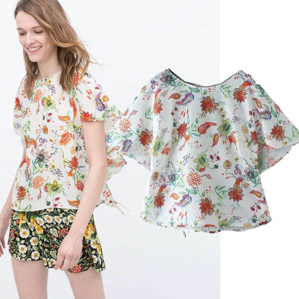 2015 summer new women in Europe and America Fan flower print short-sleeved chiffon shirt big yards loose sweater coat was thin