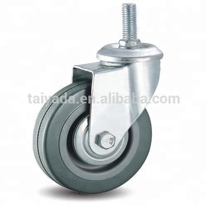 Industrial Swivel/Universal Threaded Screw Gray Rubber PVC Casters Wheel For Trolley, Dining Car