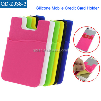custom logo 3m sticker silicone mobile phone card holder adhesive cell phone credit card holder for - Phone Card Holder Custom
