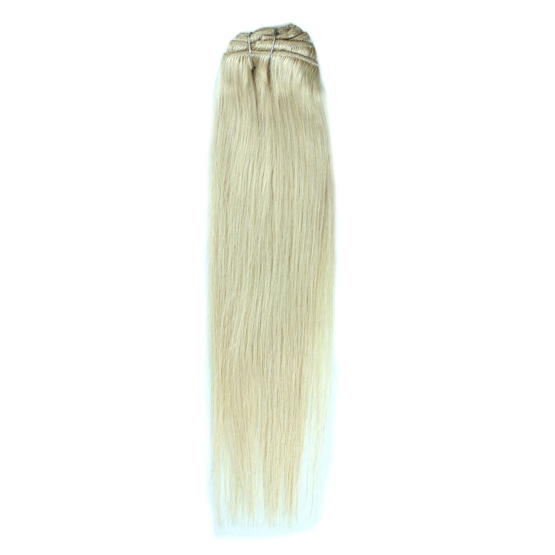 Brazilian Clip In Hair Straight Light Color #60 Soft Remy Hair Weave