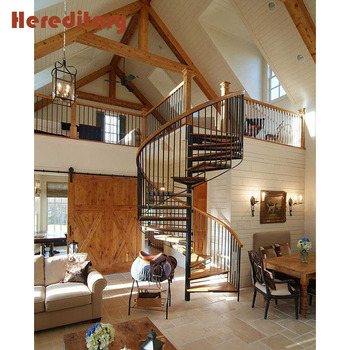 Decorative Attic Stairs Steel Wood Tread Spiral Staircase For Sale
