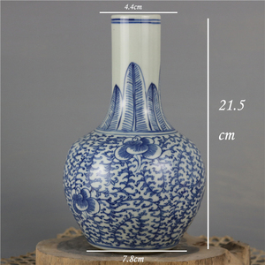 Qing Dynasty branch lotus lines blue and white decoration porcelain chinese vase