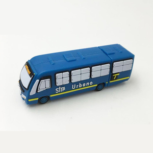 Transportation company promotional gift soft PVC material customized logo 4GB 3D Bus shape usb stick