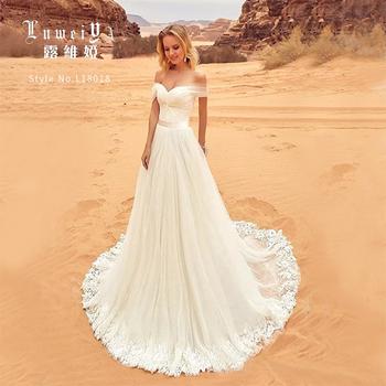 Organza Pregnant Woman Wedding Dress A-line Off-shoulder Neckline ...