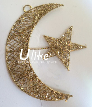 Glitter star decorations metal lighted star shape outdoor star and glitter star decorations metal lighted star shape outdoor star and moon glitter metal decoration party decoration aloadofball Choice Image