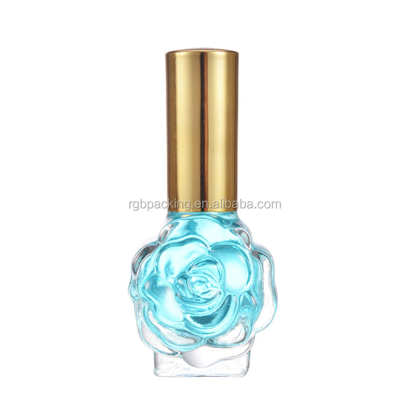 Custom 15ml Flower Shape Nail Polish Bottle With Rose Flower Colored Cap And Brush Buy Unique