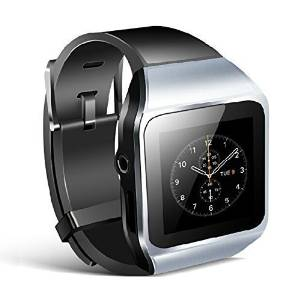 """Allreadytech Intelligent Watch Bluetooth Mp3 Music Player 8GB with 1.5"""" Touch Screen Support Bluetooth Fm Pedo Meter World Clock Function (Silver)"""